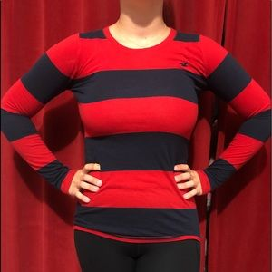 Red and Blue Striped Long Sleeve Shirt